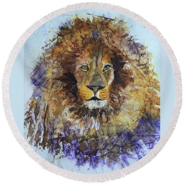 Lion Head Round Beach Towel