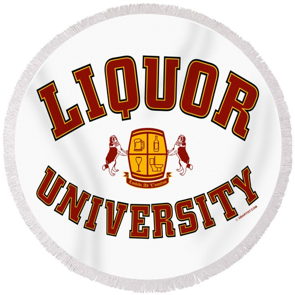 Liquor University Round Beach Towel