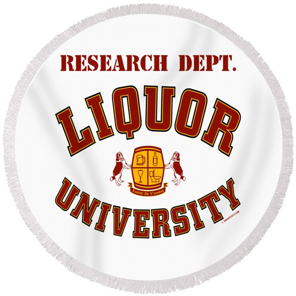 Liquor University Research Dept. Round Beach Towel
