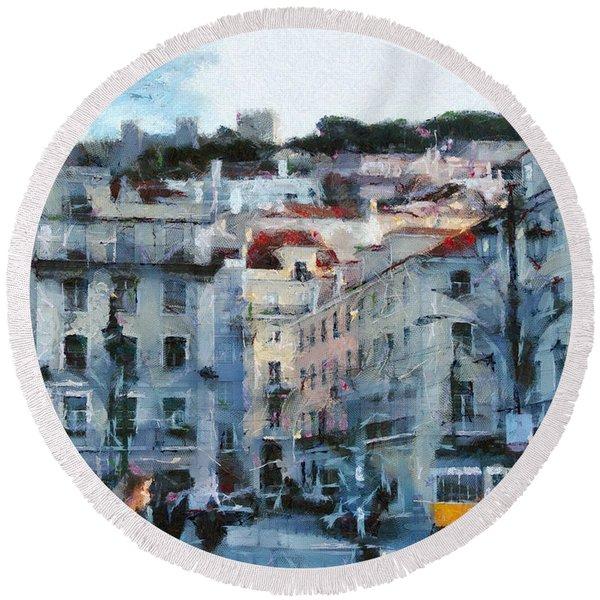 Lisbon Street Round Beach Towel