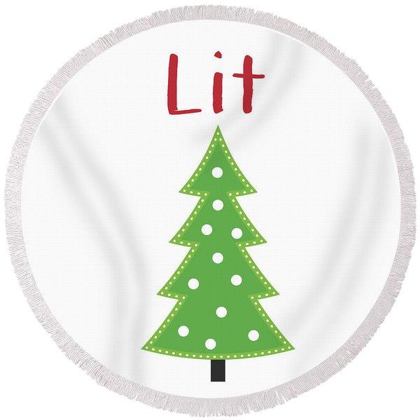 Lit Christmas Tree- Art By Linda Woods Round Beach Towel