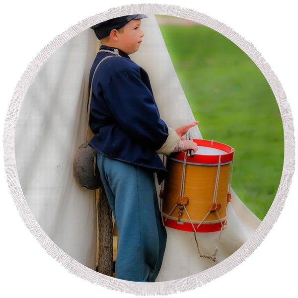 Little Drummer Boy Round Beach Towel