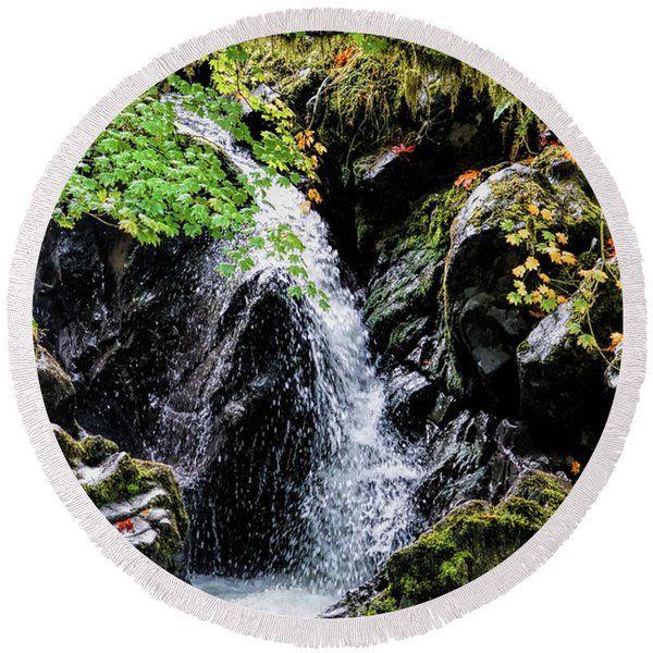Round Beach Towel featuring the photograph Little Falls by Michael Hope