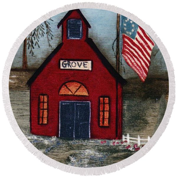 Round Beach Towel featuring the mixed media Little Red Schoolhouse by Writermore Arts
