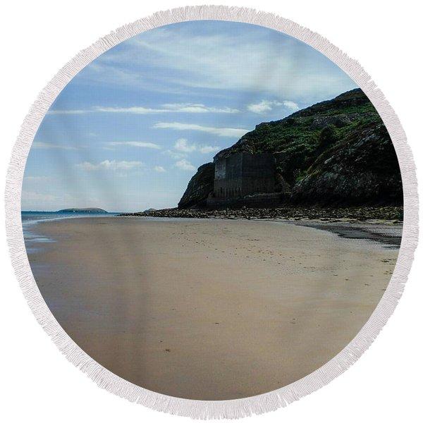 Llandbedrog Headland, Lleyn Peninsula, North Wales Round Beach Towel