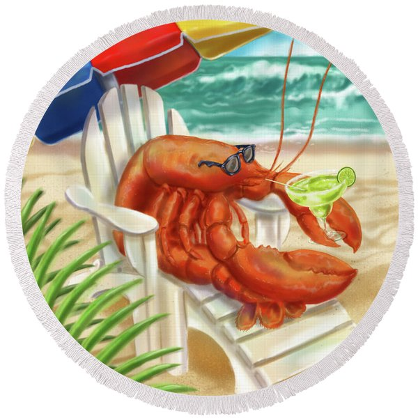 Lobster Drinking A Margarita Round Beach Towel