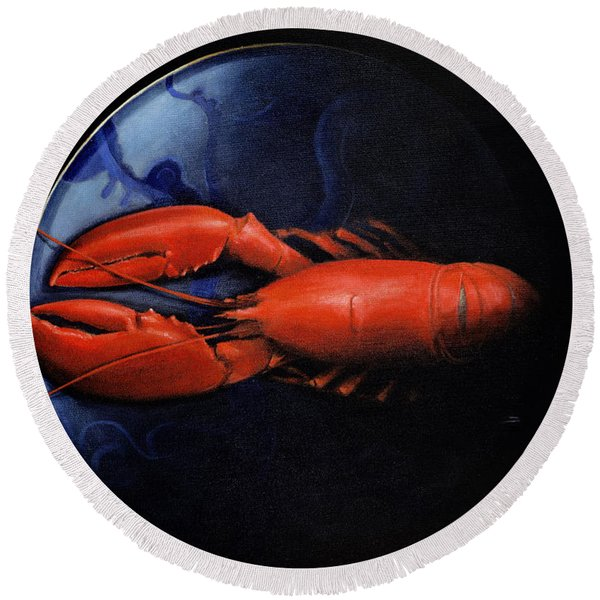 Lobster On Tiffany Plate Round Beach Towel