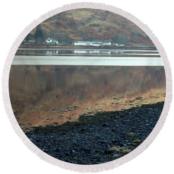 Loch Linnhe Reflection Round Beach Towel