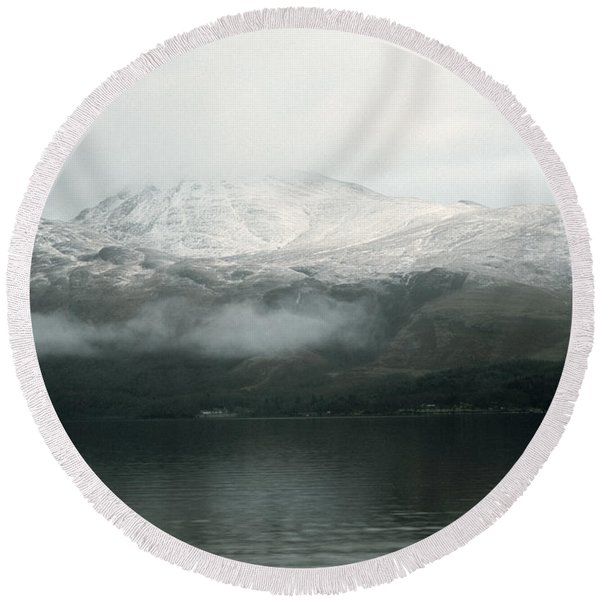 Loch Lomond, Winter Round Beach Towel