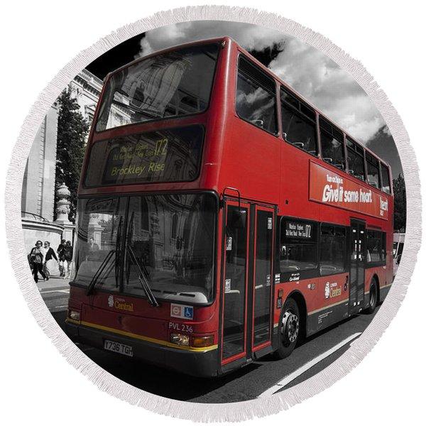 London Bus Round Beach Towel