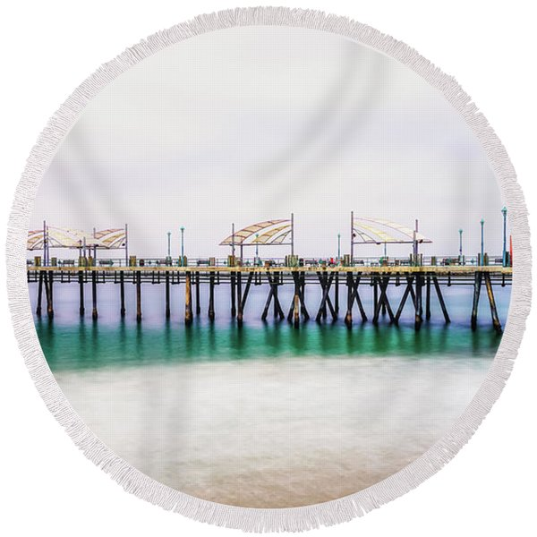 Round Beach Towel featuring the photograph London In Redondo by Michael Hope