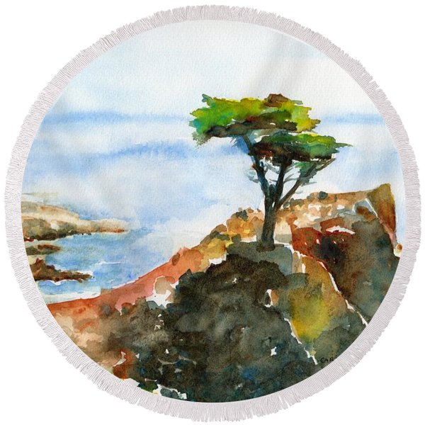Lone Cypress Pebble Beach Fog Round Beach Towel