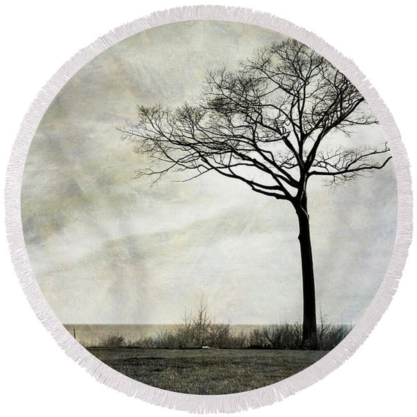 Round Beach Towel featuring the photograph Lone Tree By The Lake by Mary Lee Dereske