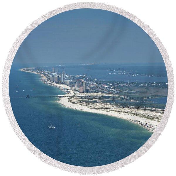 Long, Aerial, Beach View Round Beach Towel