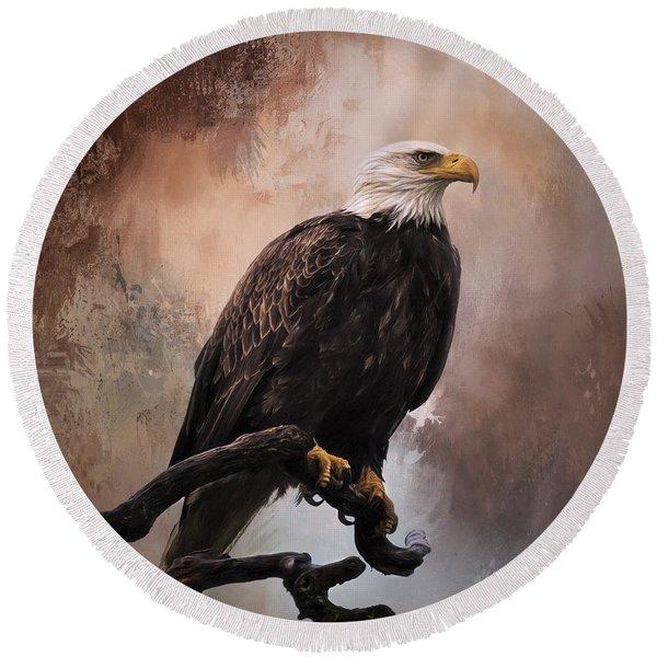 Looking Forward - Eagle Art Round Beach Towel
