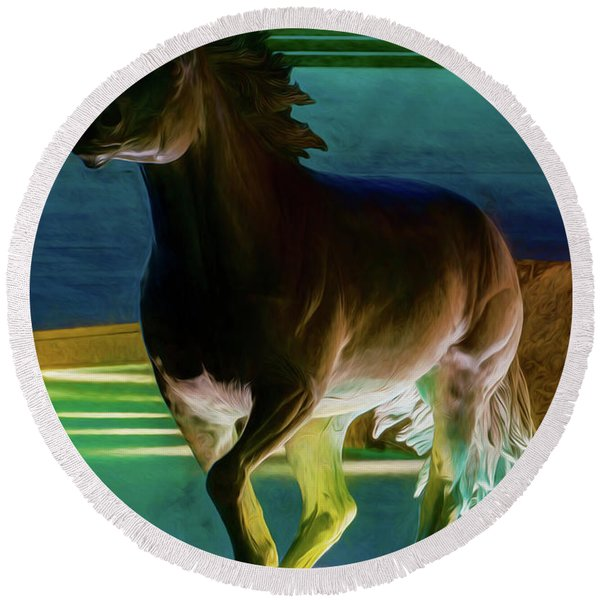 Las Colinas Mustangs Filter Round Beach Towel