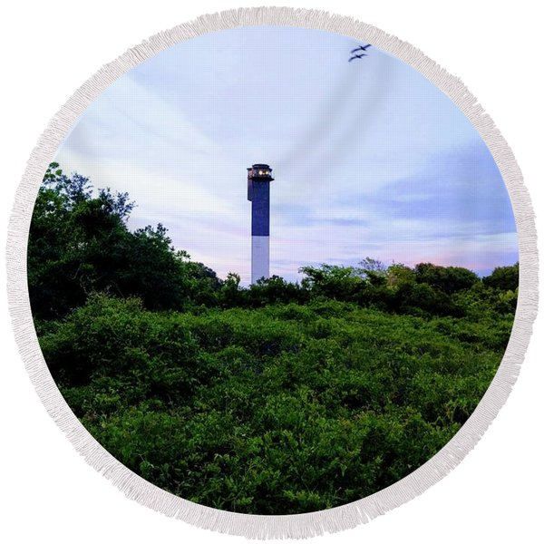Lost Lighthouse Round Beach Towel