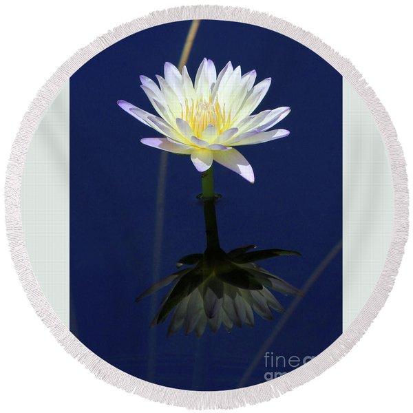 Lotus Reflection Round Beach Towel