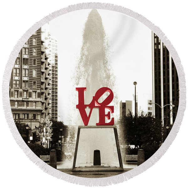 Round Beach Towel featuring the photograph Love In Philadelphia by Bill Cannon