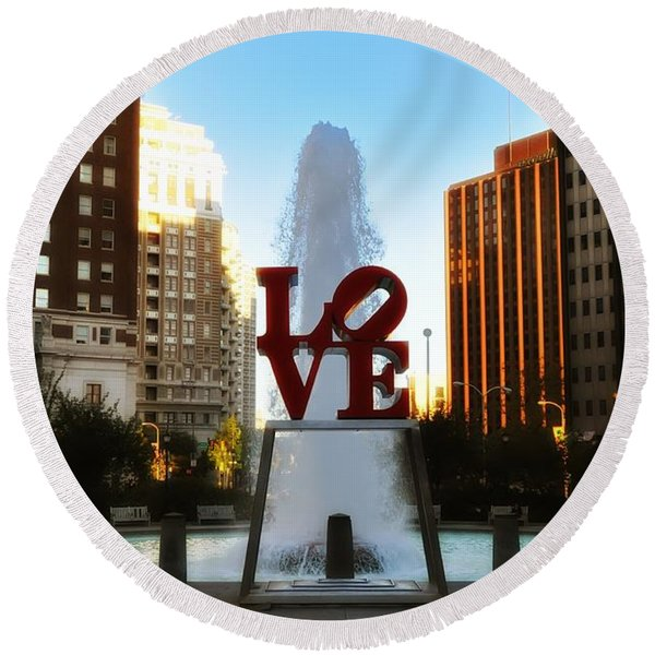 Round Beach Towel featuring the photograph Love Park - Love Conquers All by Bill Cannon