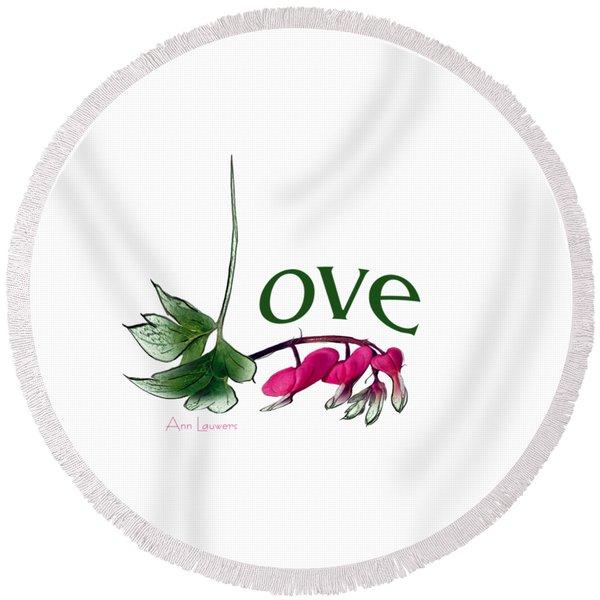 Love Shirt Round Beach Towel
