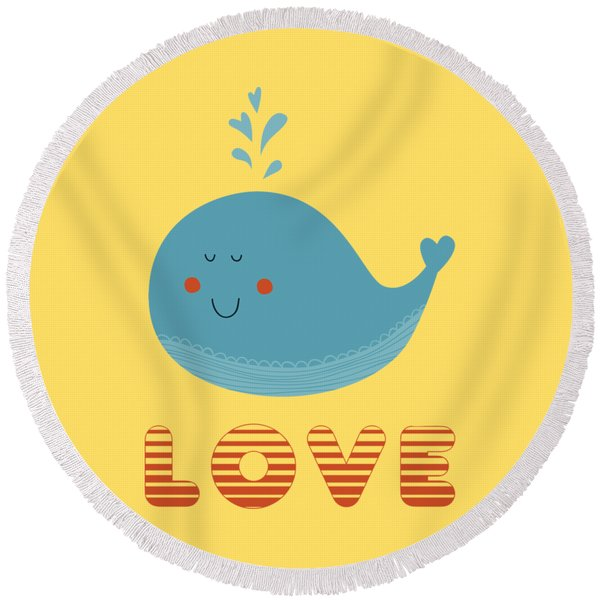 Love Whale Cute Animals Round Beach Towel