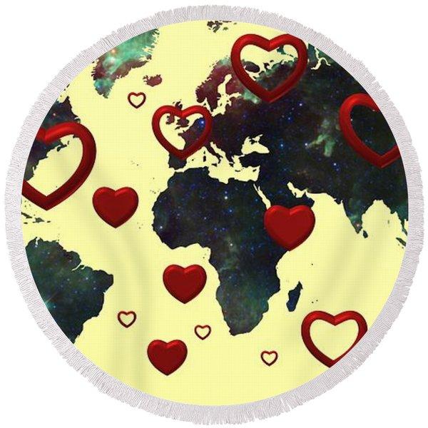 Love World Map 2 Round Beach Towel