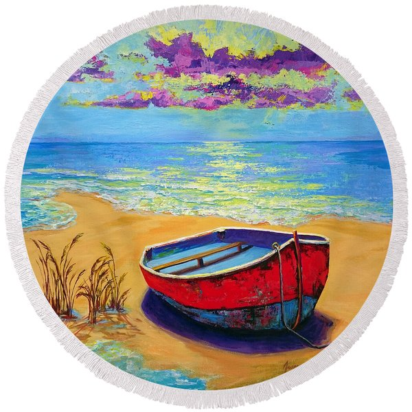 Low Tide - Impressionistic Art, Landscpae Painting Round Beach Towel