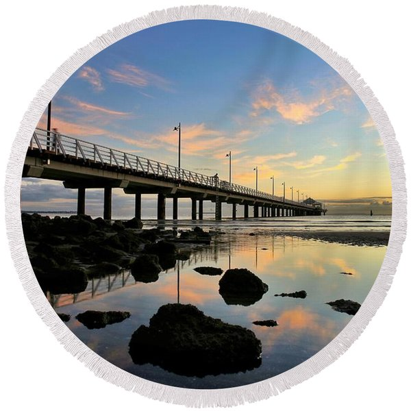 Low Tide Reflections At The Pier  Round Beach Towel
