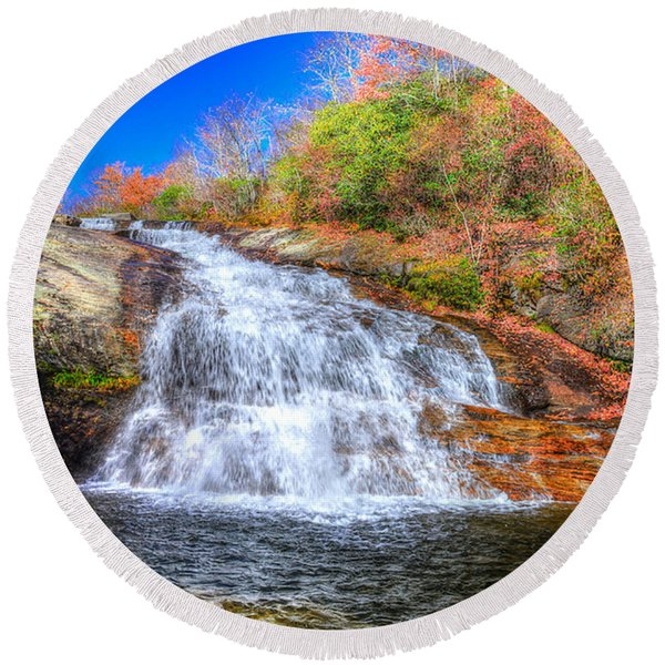 Lower Falls At Graveyard Fields Round Beach Towel