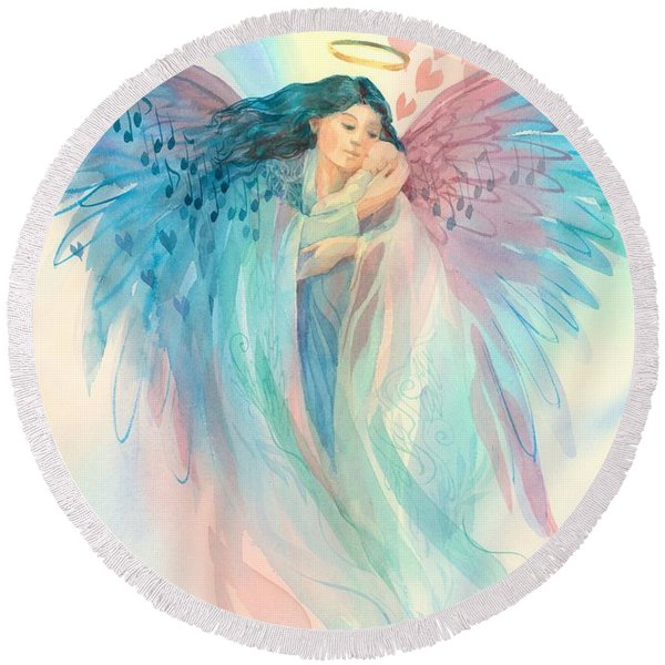 Round Beach Towel featuring the painting Lullaby Angel by Carolyn Utigard Thomas
