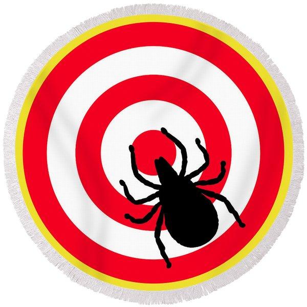 Lyme Disease Ixodes Tick On Target Round Beach Towel