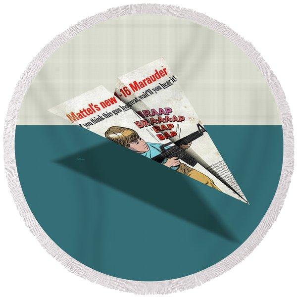 M-16 Toy Machine Gun Comic Book Ad Paper Airplane Round Beach Towel