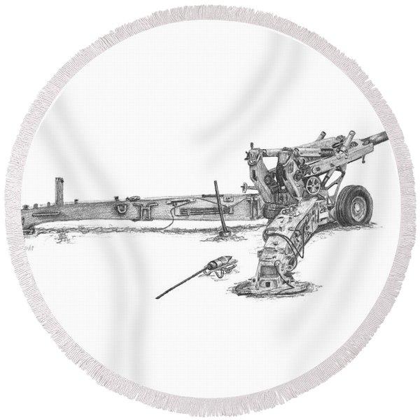 M198 Howitzer - Standard Size Prints Round Beach Towel