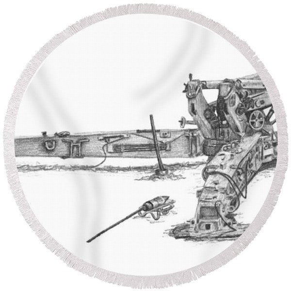M198 Howitzer - Natural Sized Prints Round Beach Towel
