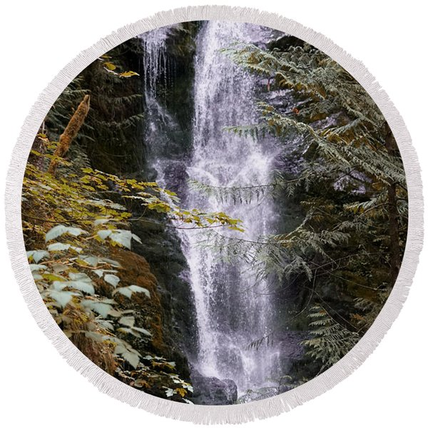 Round Beach Towel featuring the photograph Magical Falls Quinault Rain Forest by Michael Hope
