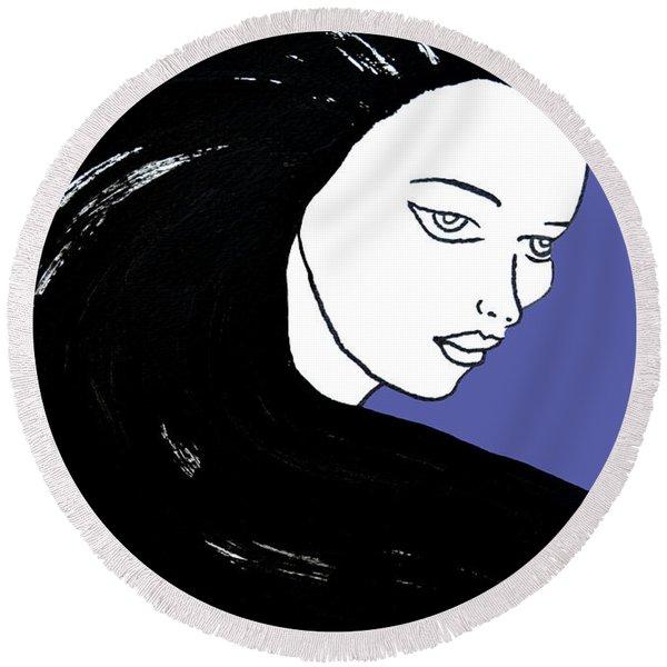 Majestic Lady J0715f J0715f Marina Blue Pastel Painting 17-4041 4f84c4 585fa8 Round Beach Towel