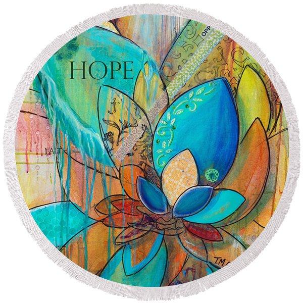 Spirit Lotus With Hope Round Beach Towel