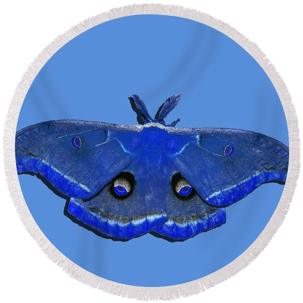 Male Moth Navy Blue .png Round Beach Towel