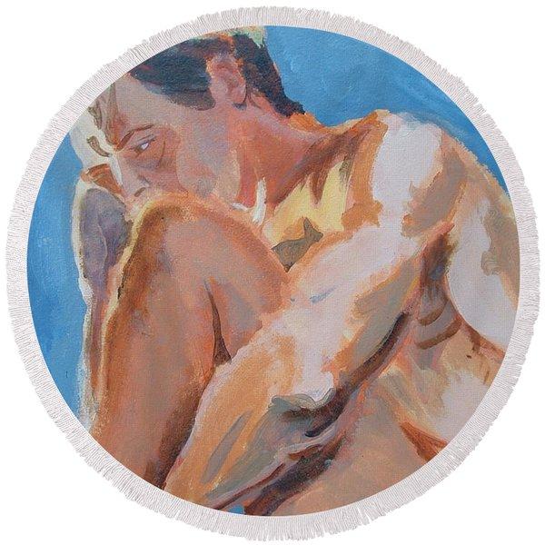 Male Nude Painting Round Beach Towel