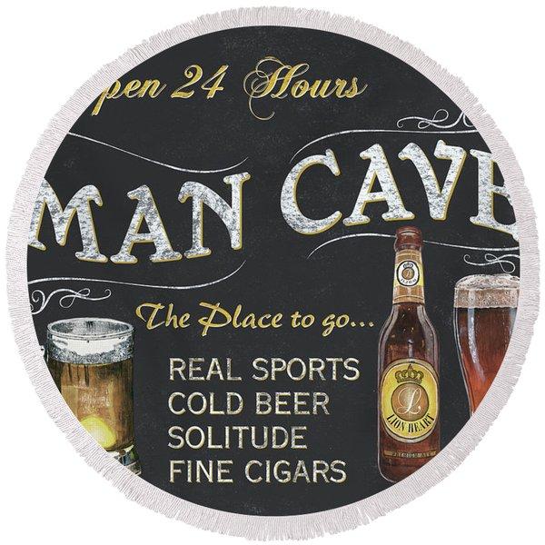Man Cave Chalkboard Sign Round Beach Towel