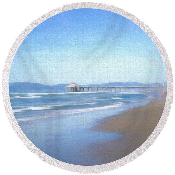 Round Beach Towel featuring the photograph Manhattan Pier Art by Michael Hope