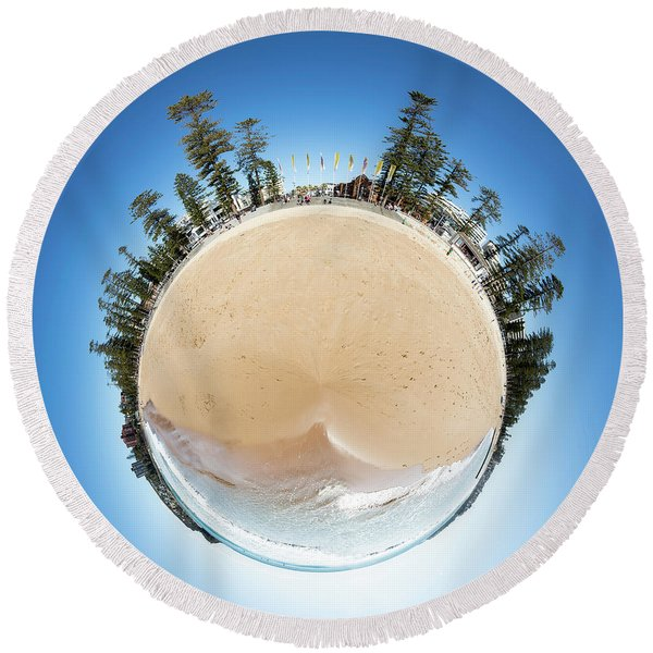Manly Beach Tiny Planet Round Beach Towel