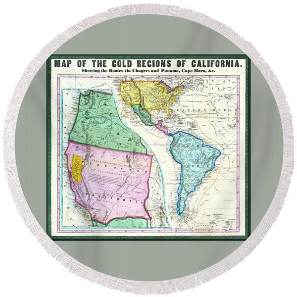 Map Of The Gold Regions Of California Round Beach Towel