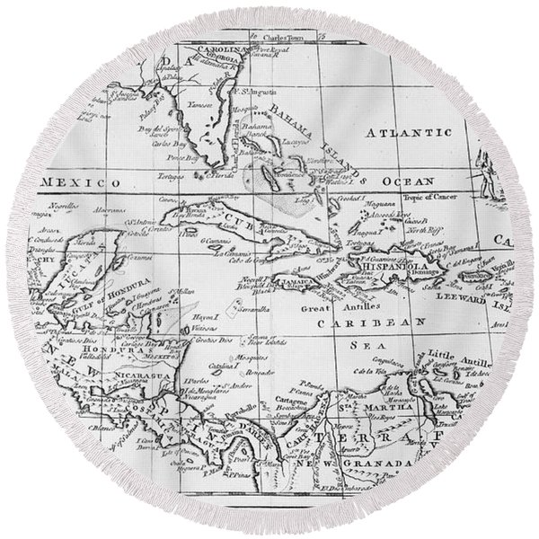 Map Of The West Indies Florida And South America Round Beach Towel