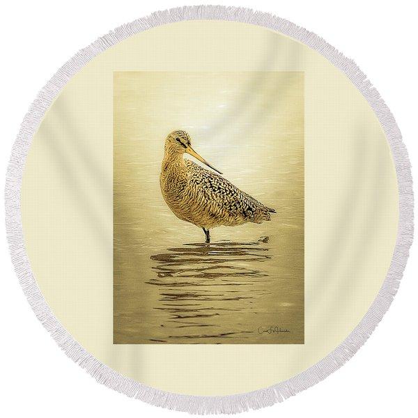 Marbled Godwit - Backward Glance Round Beach Towel