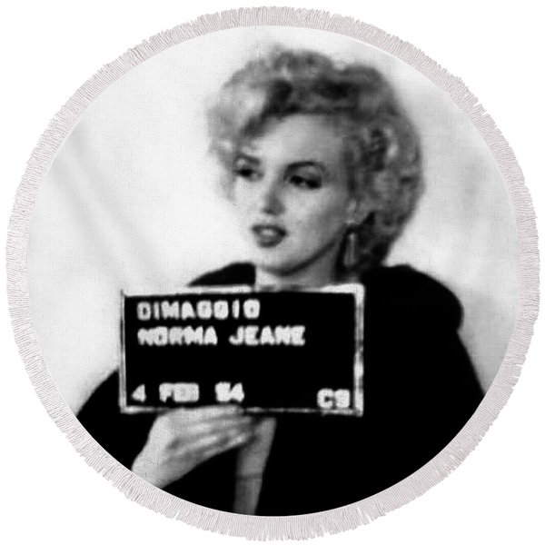Round Beach Towel featuring the photograph Marilyn Monroe Mugshot In Black And White by Digital Reproductions