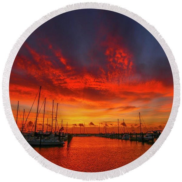 Marina Sunrise - Ft. Pierce Round Beach Towel