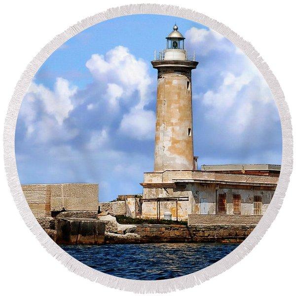 Marsala Lighthouse Round Beach Towel