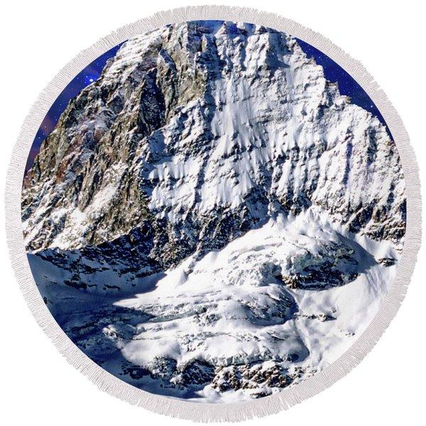 Matterhorn At Twilight Round Beach Towel